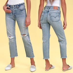 Levi's Wedge Fit Distressed Cut Off Ankle Jeans